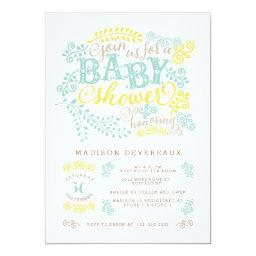 Modern Yellow Mint Gender Neutral Cute Baby Shower