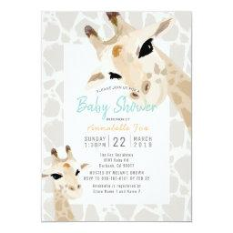Mom & Baby Giraffe Greige Watercolor Baby Shower Invitation