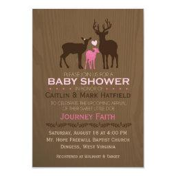 Mom, Dad & Baby Girl Deer Pink  Invite