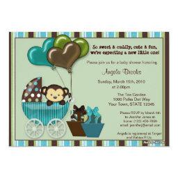 Monkey Baby Shower  TEAL