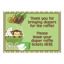 Monkey Carriage Grn Baby Shower Diaper Raffle Sign