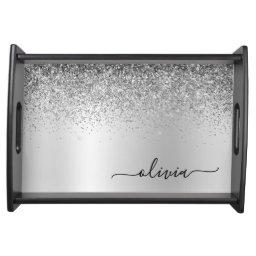 Monogram Script Silver Glitter Girly Name Serving Tray