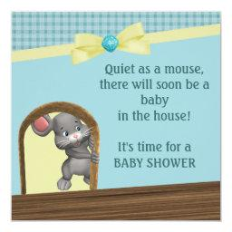 Mouse In House Baby Shower, Green & Yellow