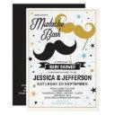 Mustache Bash Boy Baby Faux Glitter Shower Invitation