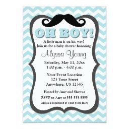 Mustache Blue Chevron Baby Shower Invite