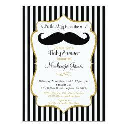 Mustache Boy Baby Shower  Black Gold