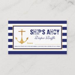 Nautical Anchor Baby Shower Diaper Raffle Ticket Enclosure