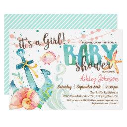 Nautical Anchor Baby Shower Invitation, Girl Invitation