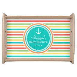 Nautical Baby Shower, Bright Rainbow Stripes Serving Tray