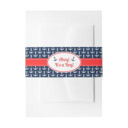 Nautical Baby Shower Invitations Belly Band