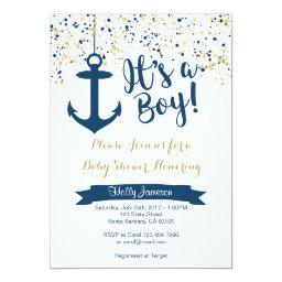 Nautical Baby Shower Invitation- Navy and Gold