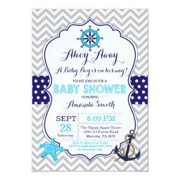 Nautical Baby Shower Invitations Navy Blue Gray