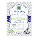 Nautical Baby Shower Invitation Navy Green Gray