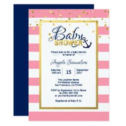 Nautical Gold Navy Blue White Pink Baby Shower Invitation