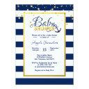 Nautical Gold Navy Blue White Stripes Baby Shower Invitations