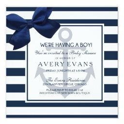 Nautical Navy Ribbon Anchor It's A Boy Baby Shower