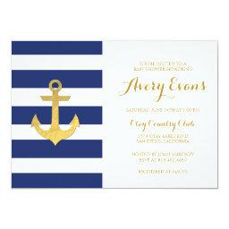Nautical Navy Stripe  with Gold Anchor