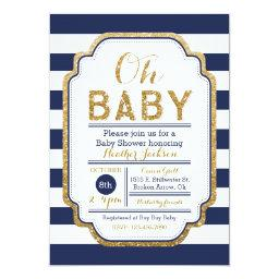 Navy And Gold Baby Shower Invitation, Baby boy