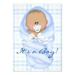 Navy Baby Blue Gingham Baby Boy Shower