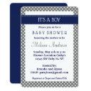 Navy Blue And Gray Baby Shower Invitations