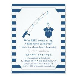 Navy Blue And Grey Fishing Themed Baby Shower Invitation