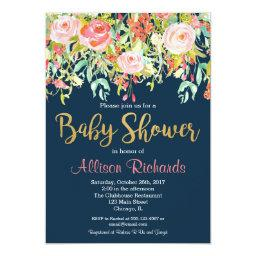 navy blue floral baby shower