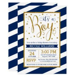 Navy Blue Gold Stripes Boy Baby Shower Invitationss