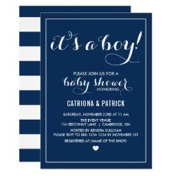 Navy Blue It's A Boy Script Baby Shower Invitations