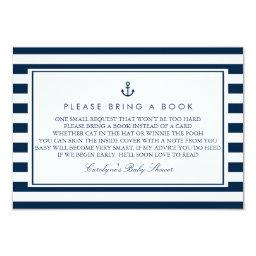 Navy Blue Nautical Baby Shower Please Bring a Book