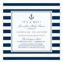 Navy Blue Nautical It's a Boy Baby Shower