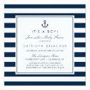 Navy Blue Nautical It's A Boy Baby Shower Invitation