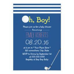 Navy Blue Stripes Golf Boy