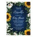 Navy Blue Sunflower Rustic Country Baby Shower Invitation