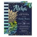 Navy Blue Tropical Pineapple Beach Baby Shower Invitation