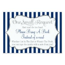 Navy Blue White Gray Baby Shower Bring A Book