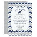 Navy Elephant Boy Baby Sprinkle With Cute Poem Invitation