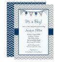 Navy & Grey Chevron Baby Shower Invitation