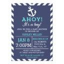 Navy Nautical Chevron Baby Shower Invitation