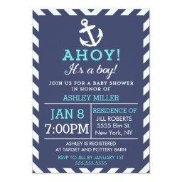 Navy Nautical Chevron Baby Shower