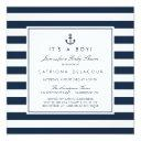 Navy Nautical It's A Boy Baby Shower Invitations