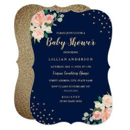 Navy Peach Gold Floral Confetti Baby Shower