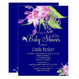 Navy Plum Summer Floral Watercolor Baby Shower Invitation