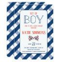 Navy Red Plaid Bow Tie Baby Boy Shower