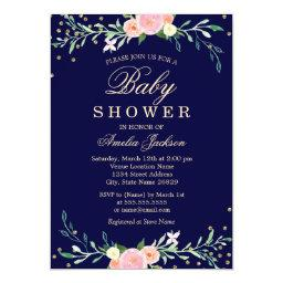 Navy Sweet Floral Sparkle Confetti Baby Shower