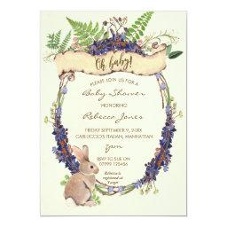neutral baby shower  forest rabbit bunny