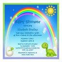 Newly Hatched Dinosaur Rainbow Baby Shower Invitation