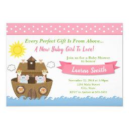Noah's Ark Baby Shower Invitation Girl Baby Shower