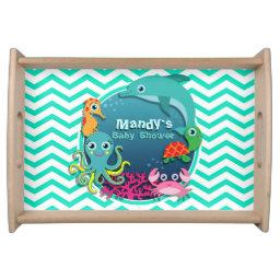 Ocean Theme Baby Shower; Aqua Green Chevron Serving Tray