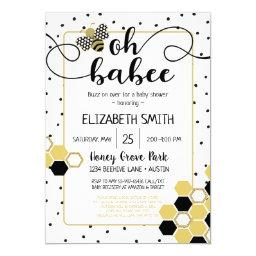 Oh Babee Bumblebee Gold Glitter Black Baby Shower Invitation