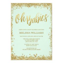Oh Babies Mint Gold Glitter Baby Shower